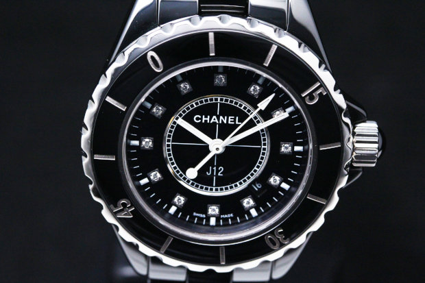 J12 Diamonds Black Ceramic Ladies Watch